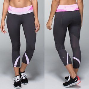 Lululemon Run Inspire Crop II Soot Pretty Purple 8